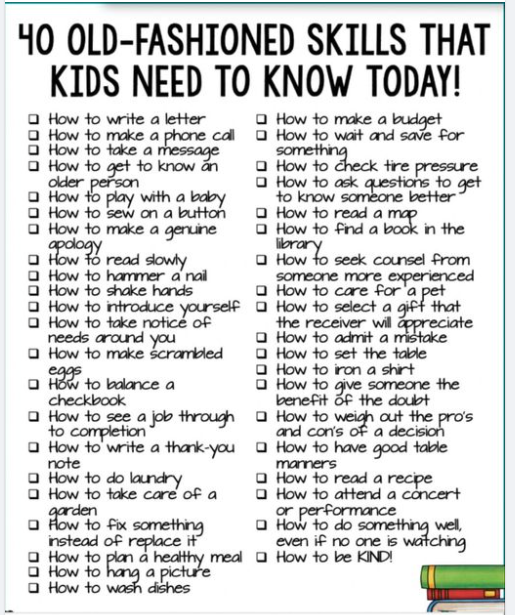 40 Old Fashioned Skills that Kids need to know Today !