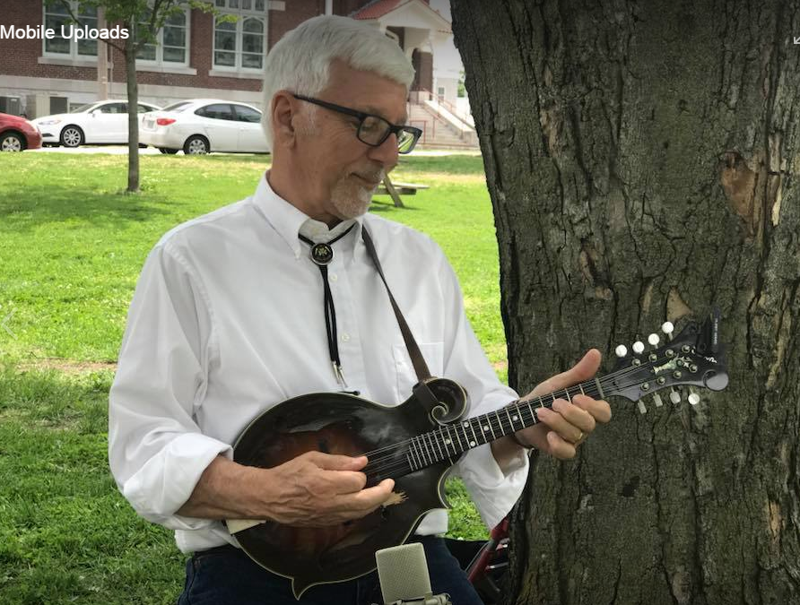 Here I am playing for local school program about great Americans in local park