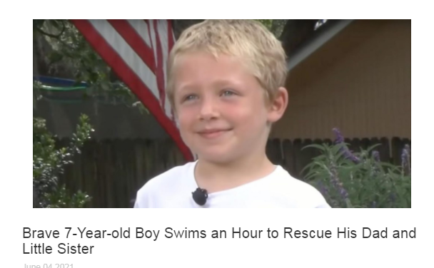Brave 7-Year-old Boy Swims an Hour to Rescue His