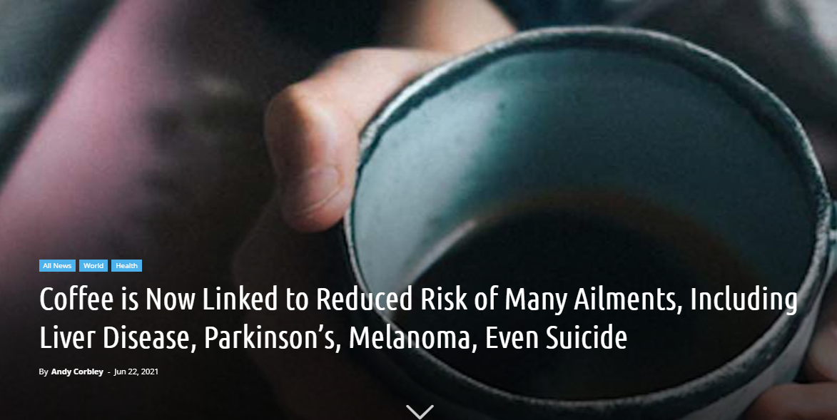 Coffee is Now Linked to Reduced Risk of Many Ailments, Including Liver Disease, Parkinson's, Melanoma, Even Suicide