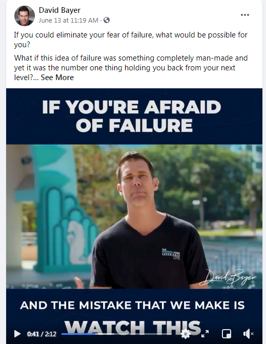 if your afraid of failure, thanks to David Bayer - Powerful