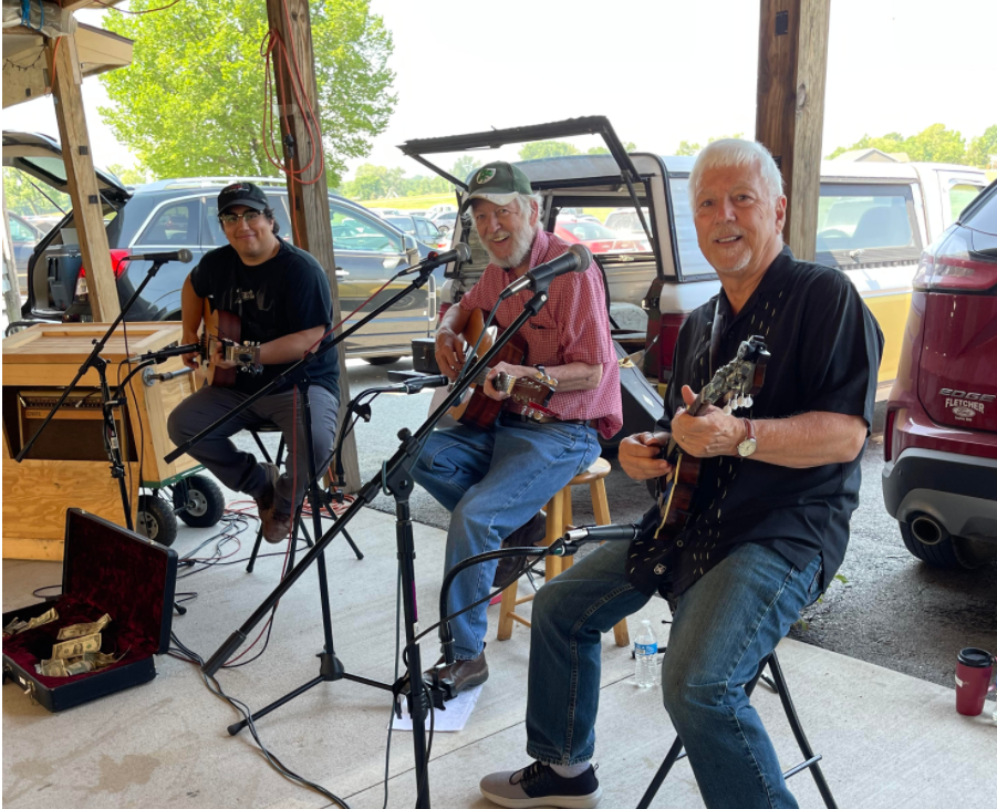 Just Jake Trio at Webb City farmers market 6/19/21....( with Corky )