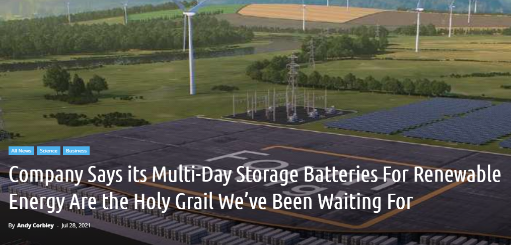 Company Says its Multi-Day Storage Batteries For Renewable Energy Are the Holy Grail We've Been Waiting For