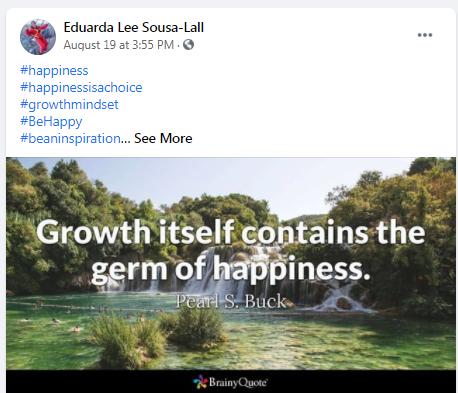 Eduarda Lee Sousa-Lall passed this bit of wisdom ......